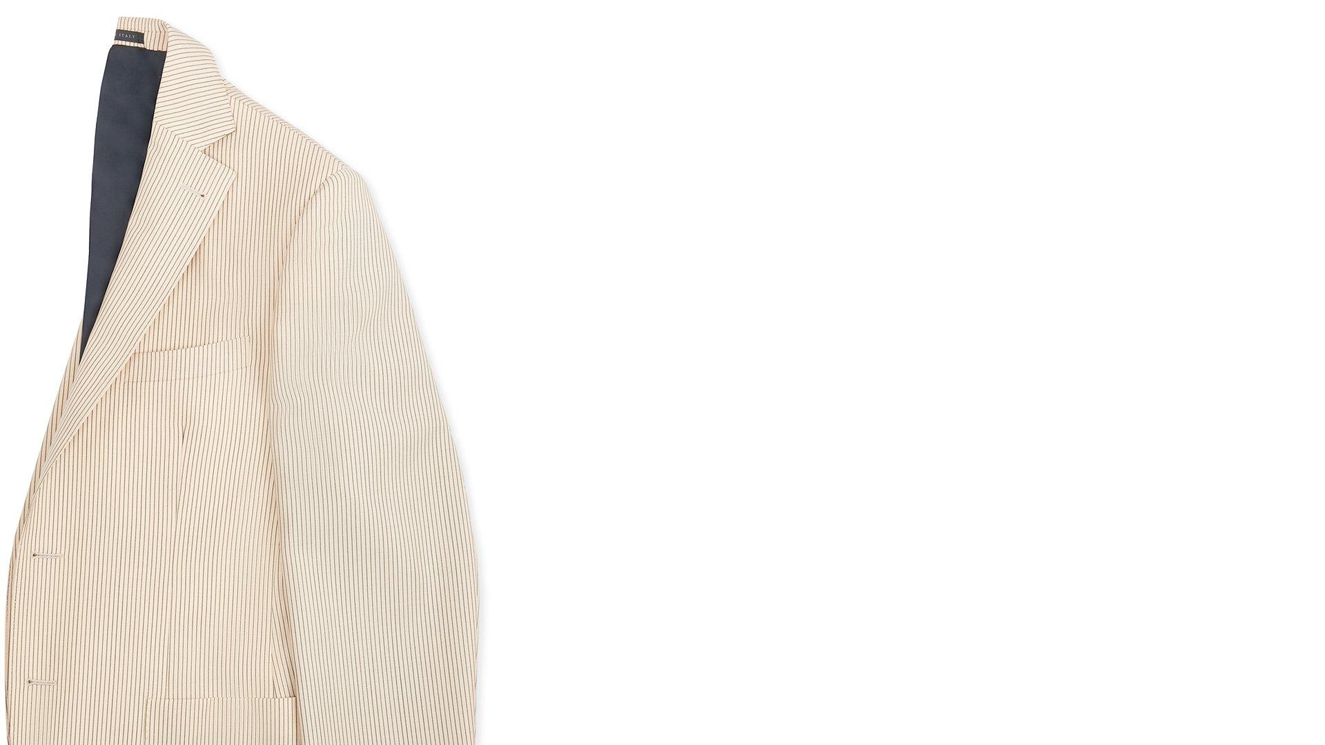 d455b5ad4ce87 Giacca da uomo crema rigato lana mohair ripiegata verticalmente