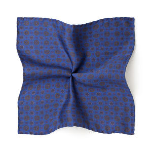 Pocket square Vintage Electric Blue Silk