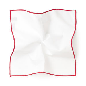 Pocket square White Red