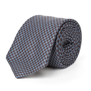 Necktie Brown Houndstooth Wool