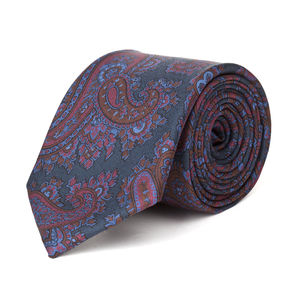Krawatte Paisley Blau Seide