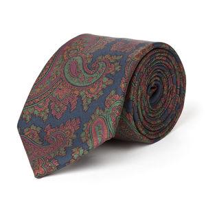 Krawatte Paisley Grün Seide