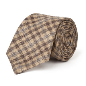 Brown Check Wool Necktie