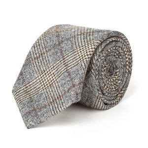 Grey Prince of Wales Wool Necktie