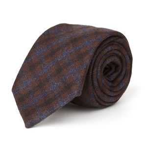 Blue Check Wool Necktie