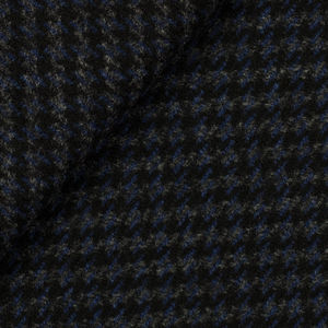 Blue Houndstooth Wool Cashmere Coat