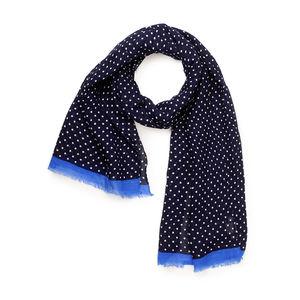 Sciarpa Cotone Lino Pois Blu