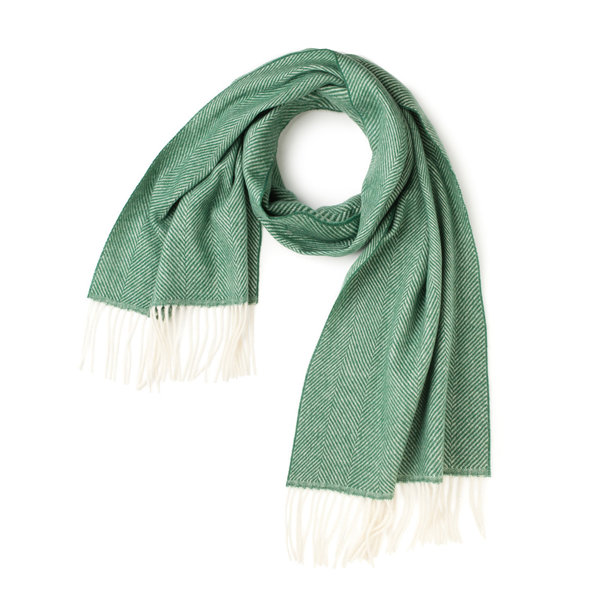 Green Herringbone Scarf Fabric produced by  MaAlBi