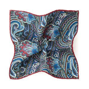 Pochette costume Paisley Bordeaux Soie Tissu fabriqué par  Lanieri