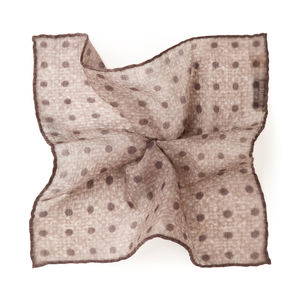 Dot Beige Wool Pocket square Fabric produced by  Lanieri - Made in Italy