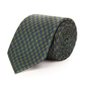 Cravatta Pied de Poule Verde Seta Tessuto prodotto da  Lanieri - Made in Italy