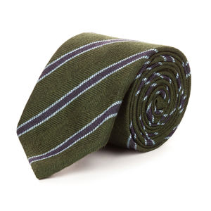 Regimental Green Cashmere Necktie Fabric produced by  Canepa