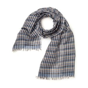 Check Blue Scarf Fabric produced by  MaAlBi