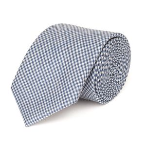 Light Blue Check Necktie Fabric produced by  Reda