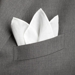 Pocket square White Cotton Linen