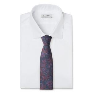 Cravate Paisley Bleu Marine Soie