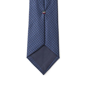Necktie Blue Houndstooth Wool