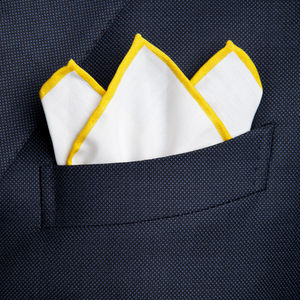 Pocket Square White Yellow