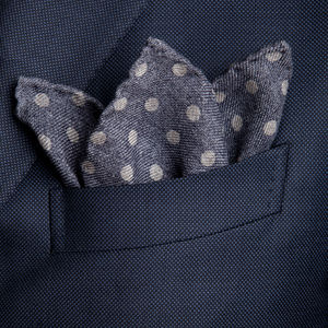 Pocket square Dots Grey