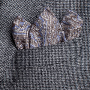 Pocket square Paisley Light Blue