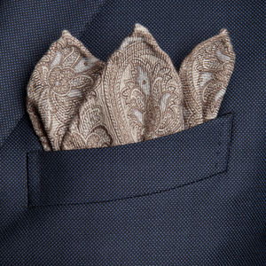 Pocket square Paisley Beige