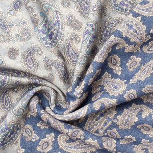 Schal Paisley Blau Wolle