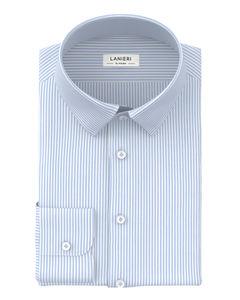 Hemd Soft Azurblau Himmelblau Streifen-Dessin