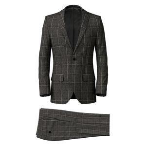 Anzug Grau Melange Überkaro