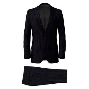 Anzug Blau Klassisch Streifen-Dessin
