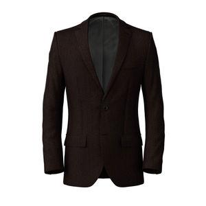 Jacket Brown Herringbone Wool Cotton