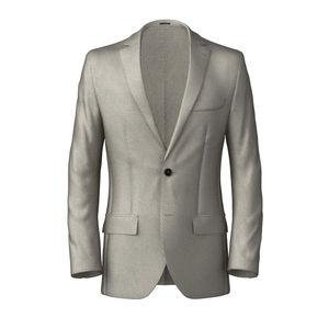 Blazer Ivory Microdesign Wool Silk