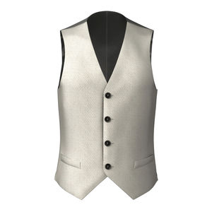 Vest Ivory Microdesign Wool Silk