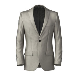 Jacket Ivory Microdesign Wool Silk