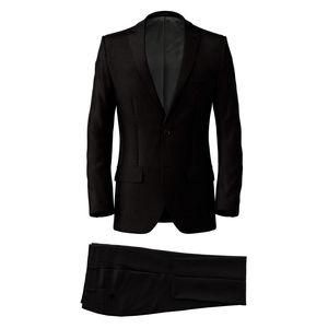 Suit Black Microdesign Wool Silk