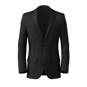 Blazer Dark Blue Microdesign Wool Silk