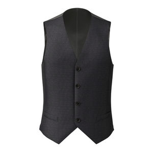 Vest Dark Blue Microdesign Wool Silk