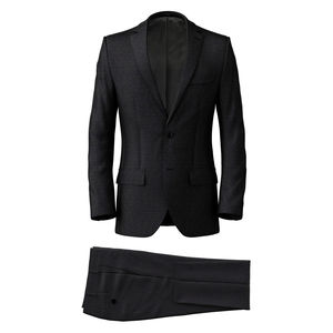 Suit Dark Blue Microdesign Wool Silk