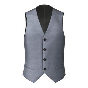 Waistcoat Steel Blue Wool Silk