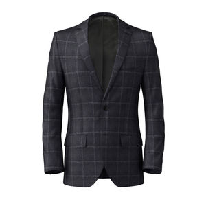 Jacket Blue Check Wool Cashmere