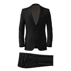 Anzug Schwarz Wolle Seide