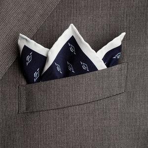 Pochette Seta Geometria Blu