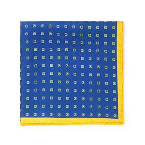 Pochette Seta Quadri Blu