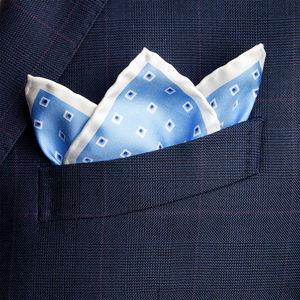 Pochette Seta Quadri Azzurra