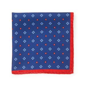 Pochette Seta Floral Blu