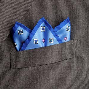 Pochette Seta Floral Azzurra