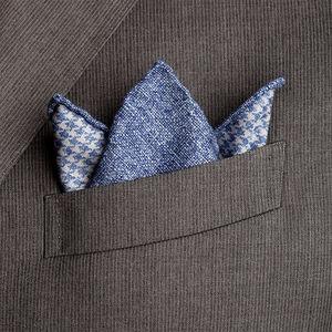 Pochette Double Pied de Poule Blu