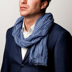 Cashmere Silk Light Blue Scarf Fabric produced by  Botto Giuseppe & Figli