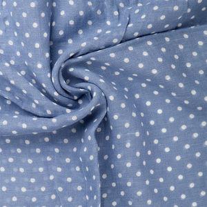 Sciarpa Cotone Lino Pois Azzurro