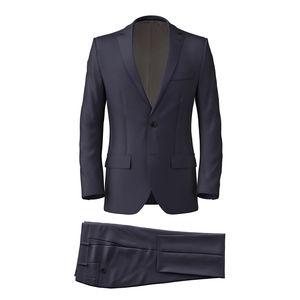 Suit Dark Navy Blue Wool Silk