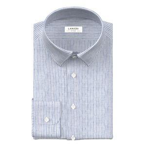 Camicia Puro Lino Blu a Righe